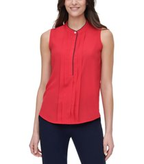 tommy hilfiger pleat-front mock-neck blouse
