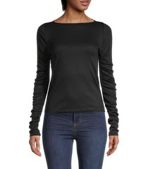 love ady women's ruffled long-sleeve stretch top - black - size s