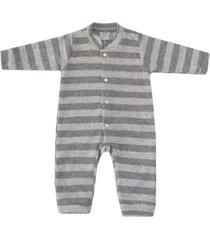 macacão pijama miniclo listrado cinza