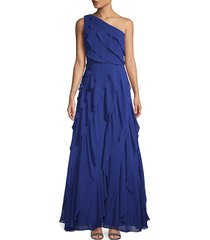 carmen marc valvo infusion women's one-shoulder asymmetric tiered evening gown - cherry - size 14
