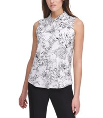 tommy hilfiger floral button-up sleeveless blouse