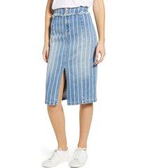women's wash lab front slit jean skirt, size 31 - blue