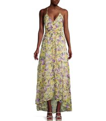 astr the label women's amy floral high-low maxi dress - yellow floral - size l