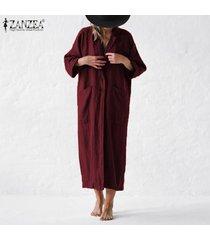 zanzea abrigo largo extragrande para mujer cuello vuelto cárdigan de punto liso -rojo