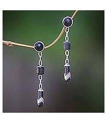 ebony dangle earrings, 'patience' (indonesia)