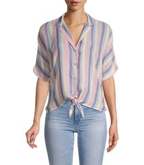 marley stripe tie-front camp shirt