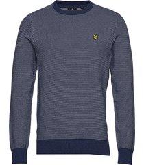 birdseye knitted jumper stickad tröja m. rund krage blå lyle & scott