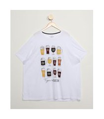 "camiseta masculina plus size types of beer"" manga curta gola careca branca"""