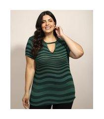 blusa feminina plus size básica choker estampada ondulada manga curta verde escuro