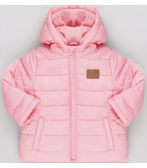 jaqueta infantil puffer com capuz e forro em fleece rosa