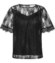 blouse 3/4 s blouses short-sleeved svart rosemunde