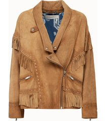 golden goose deluxe brand giacca dallas scamosciata con frange