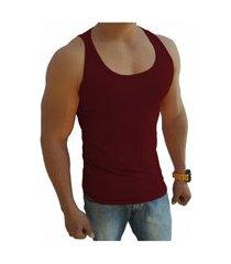 camiseta regata masculina tank 03 vermelho escuro