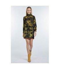 mini saia com detalhe de couro estampada est textura floresta amarelo cream gold - 42