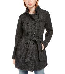 bcx juniors' faux-leather-trim belted tweed coat