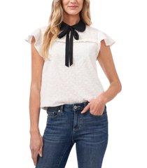 cece eyelet contrast-collar blouse