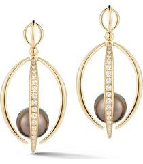 tahitian south sea pearl half cage earrings