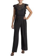 women's julia jordan flutter sleeve jumpsuit, size 2 - black