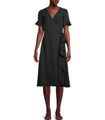 madewell women's satin wrap dress - true black - size xxs