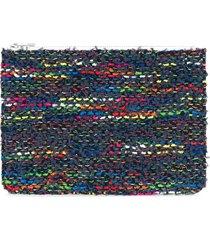 coohem knit tweed pouch - blue