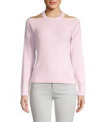 mackenzie cashmere cold-shoulder sweater