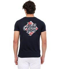 camiseta azul oscuro manpotsherd aloha