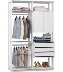 closet armário 3 gavetas 2 cabides branco lilies móveis