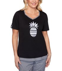 alfred dunner petite checkmate embroidered pineapple top