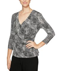 alex evenings leopard-print top