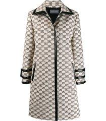 alberta ferretti all-over logo coat - neutrals