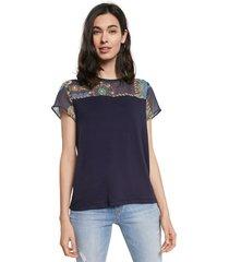 camiseta azul-multicolor desigual