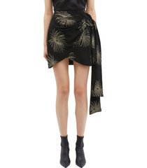 palm leaf print sash drape wrap skirt