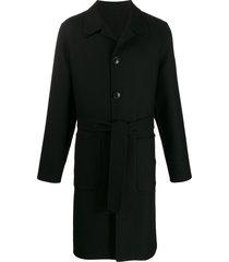 ami unstructured belted car coat - black