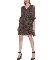 calvin klein floral-print drop-waist 3/4-sleeve dress