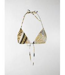 versace barocco mosaic print bikini top