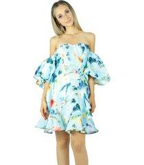 vestido liage curto floral tomara que caia manga balone babado azul claro/amarelo /azul escuro/vermelho
