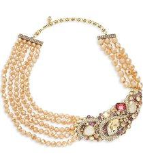 heidi daus women's goldtone & multi-stone cluster multi-strand necklace