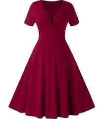 plus size v neck knot a line retro dress