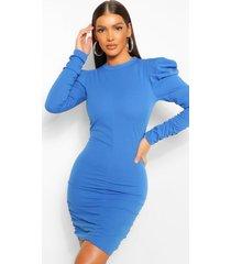 mini jurk met geplooide mouwen met schoudervulling, kobalt