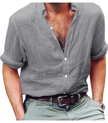 camisas de hombre camisa de manga larga de negocios lino hombre slim-gris