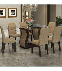 mesa de jantar 6 lugares detalhes nogueira/gold - viero móveis