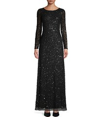 sequin long-sleeve gown