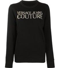 versace jeans couture logo-print crew neck sweatshirt - black