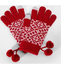 clio fair isle tech gloves - red