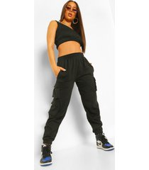 crop top & cargo pant jogger set, black