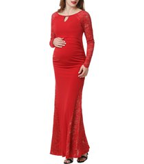 women's kimi and kai bella long sleeve maternity maxi dress, size small - red