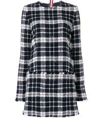 thom browne frayed thom browne tartan mini shift dress in lightweight