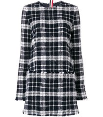 thom browne frayed thom browne tartan mini shift dress in lightweight