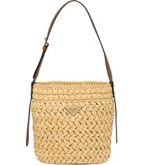 prada crocheted raffia and leather bucket bag - neutrals
