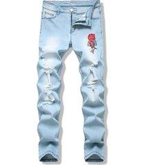 birds rose flower embroidered light wash destroyed jeans